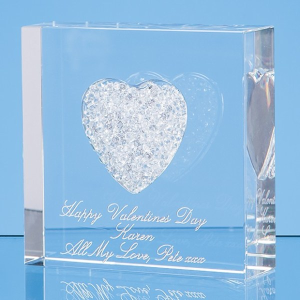 7.5cm White Diamante Heart Paperweight