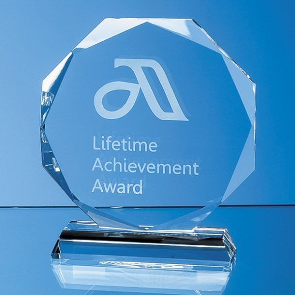 10cm x 10cm x 15mm Clear Glass Facetted Octagon Award