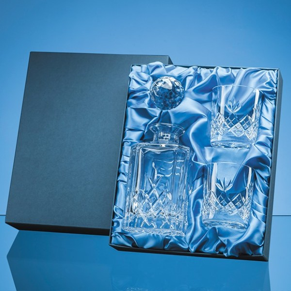 3pc Blenheim Lead Crystal Full Cut Whisky Gift Set