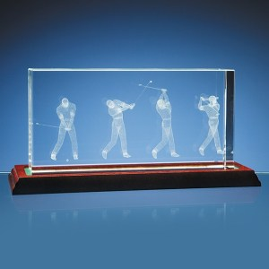 3D Golf Scene in 10cm x 20cm Optical Crystal Block