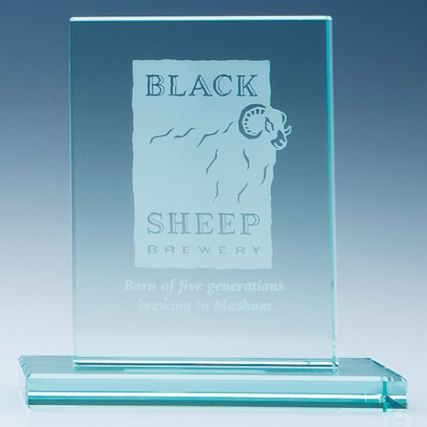 12cm x 9cm x 12mm Jade Glass Rectangle Award