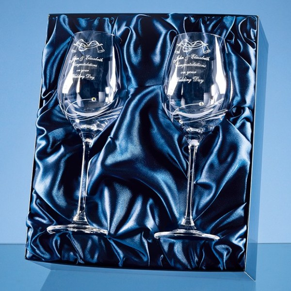 2 Diamante Wine Glasses with Elegance Spiral Cutting in a Satin Lined Gift Box