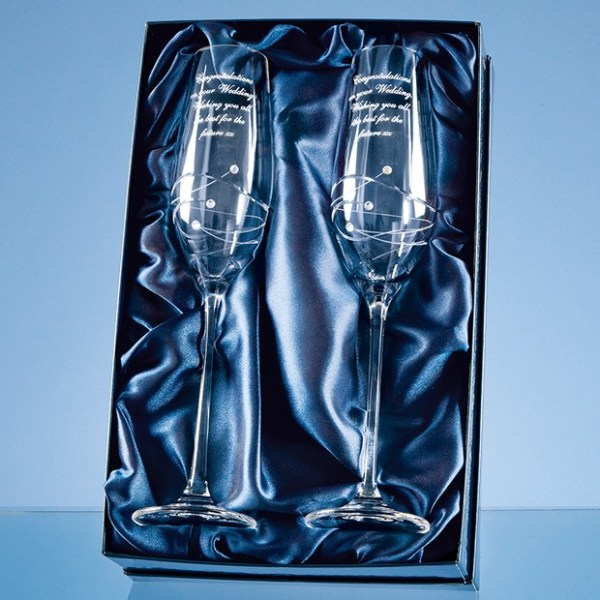 2 Diamante Champagne Flutes with Spiral Design Cutting in a Satin Lined Gift Box