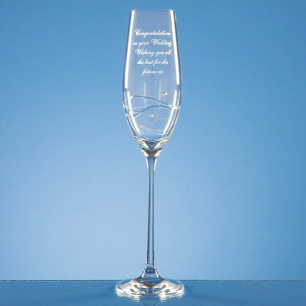 Single Diamante Champagne Flute with Spiral Design Cutting