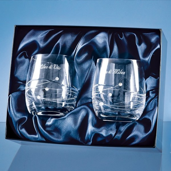 2 Diamante Whisky Tumblers with Spiral Design Cutting in a Satin Lined Gift Box