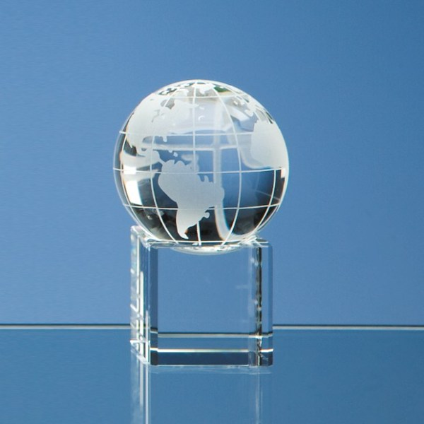 5cm Optical Crystal Globe on a Clear Crystal Base