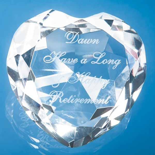8cm Optical Crystal Clear Facet Heart Paperweight