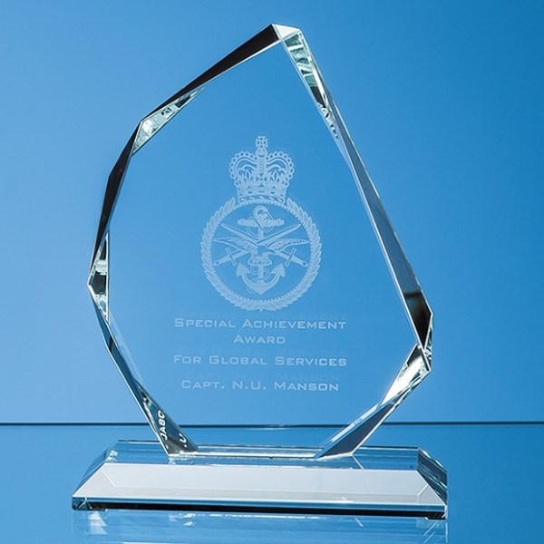 11.5cm x 9.5cm x 15mm Clear Glass Facetted Ice Peak Award