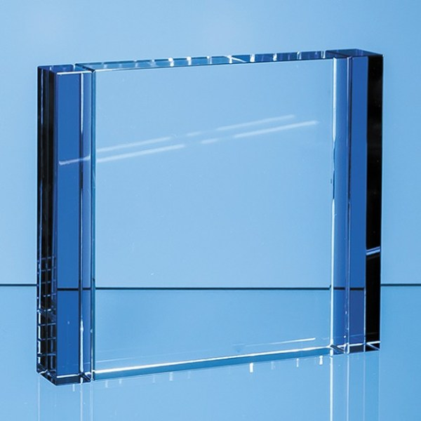 12cm Clear & Cobalt Blue Optical Crystal Column Rectangle Award