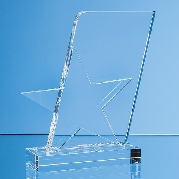 15cm Optical Crystal Mounted Angled Star Award