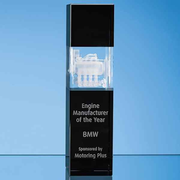 24cm Clear & Onyx Black Optical Crystal Square Column Award