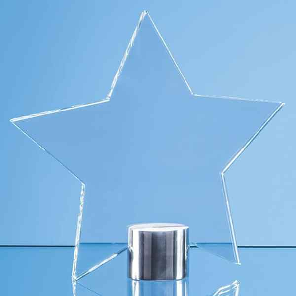 11.5cm Clear Glass Star Mounted on a Brushed Aluminium Base