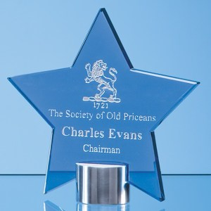 14cm Cobalt Blue Glass Star Mounted on a Brushed Aluminium Base