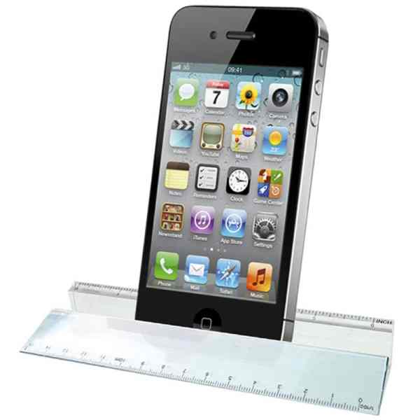 Glass Ruler Paperweight & Phone Hol