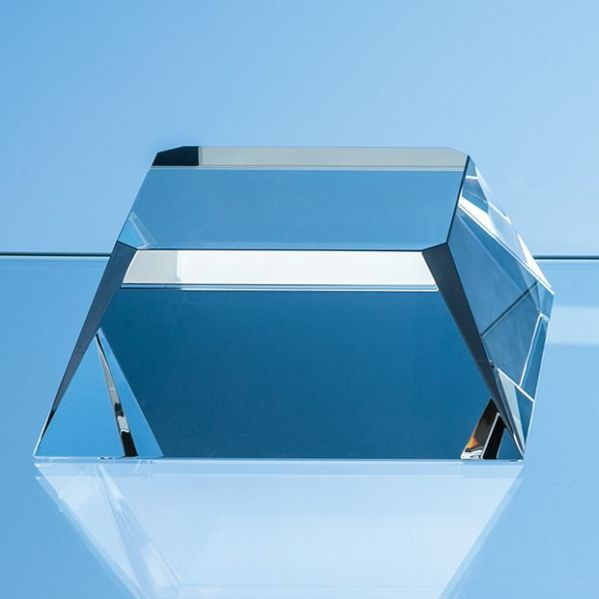 12.5cm Optical Crystal Square Base with Tapered Sides & Facet Corners