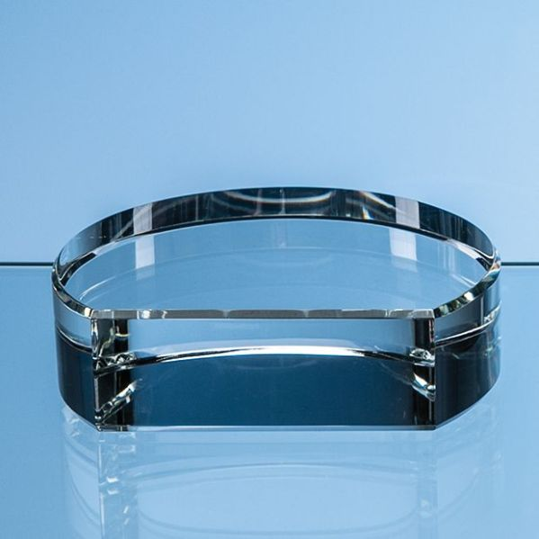 10cm x 3.5cm Optical Crystal Semi Circle Base with Flat Front**