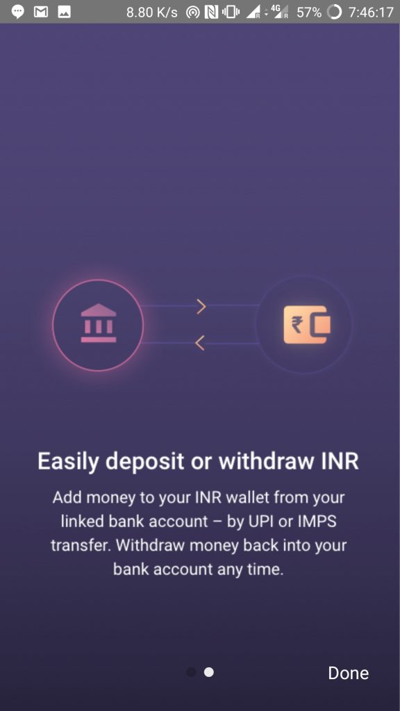 how to deposit or withdraw INR on Bitbns exchange