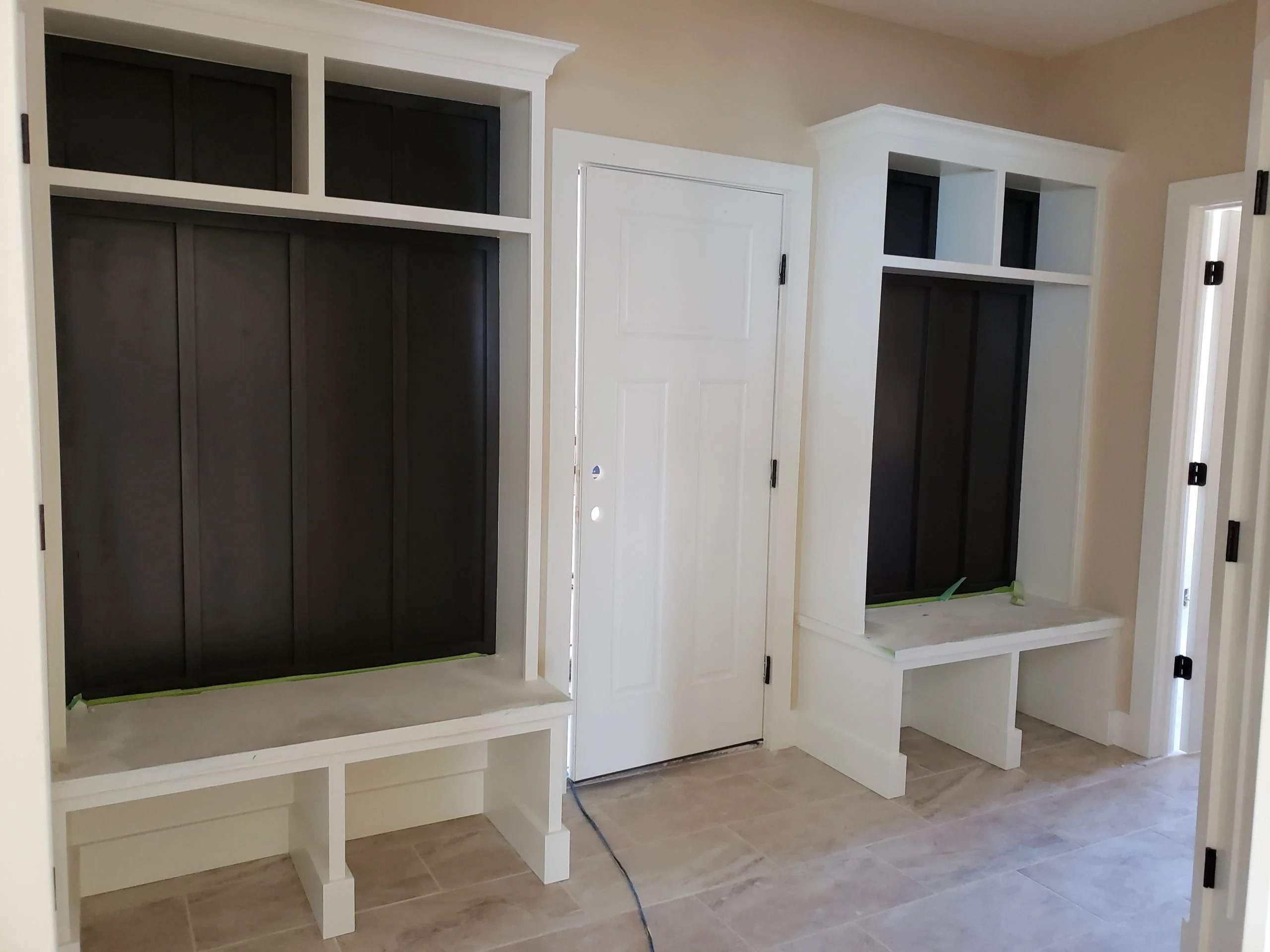 Painted lockers with stained seat