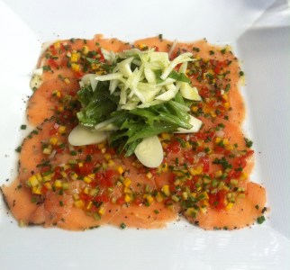 Salmon carpaccio at Daniel Dine & Wine