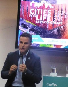 Medellin's Mayor Anibal Gaviria at the Cities for Life launch press conference