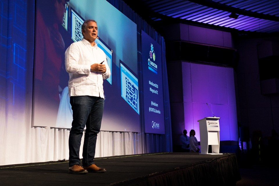 Ivan Duque pushed the need for tech regulation reform during the opening address at the Andicom 2018 ICT Conference in Cartagena. (Photo credit: Jared Wade)