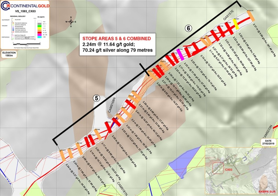 Figure 2 – Stope Areas 5 and 6 located in the Western Portion of the Veta Sur System at 1,593 RL