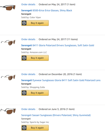 These are all genuine, personal purchases, not solicited or sponsored in any way. In fact, I have been unsuccessful in my attempts to contact Serengeti's parent company.