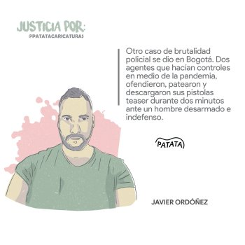 Law student Javier Ordoñez was beaten & tasered to death by Colombian police.  Graphic courtesy of @PATATAdibujo on Twitter