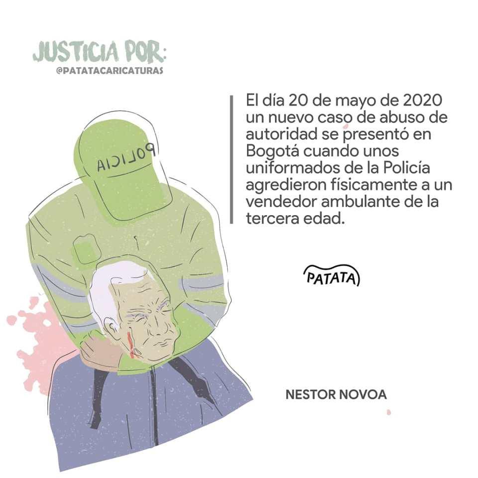 On May 20, police beat up Nestor Novoa, an elderly street vendor in Bogota.