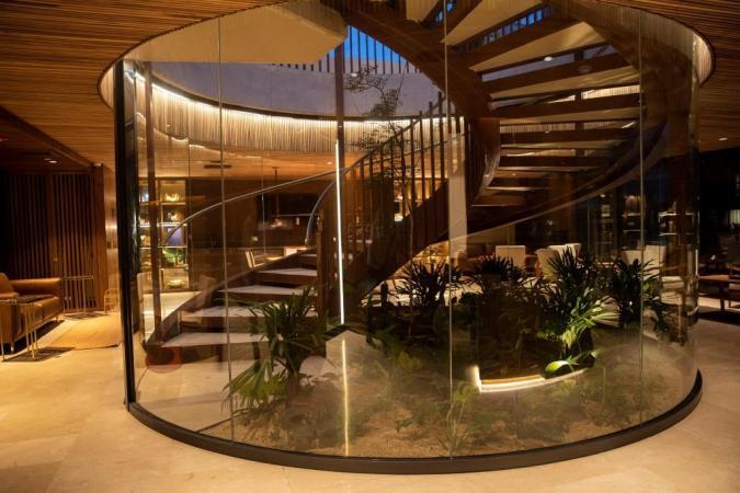 El Cielo Hotel lobby staircase, Medellín