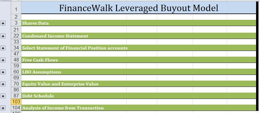 LBO Model Excel