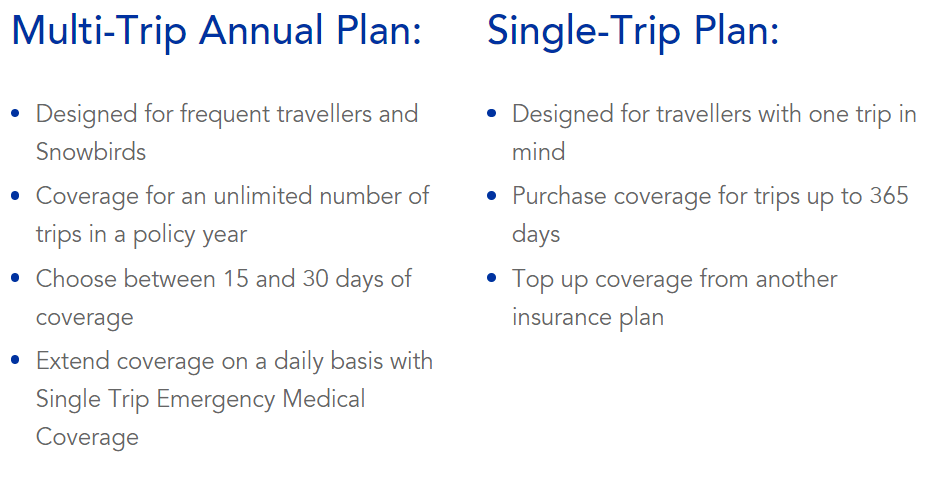 travel insurance winnipeg options - single trip vs multi-trip
