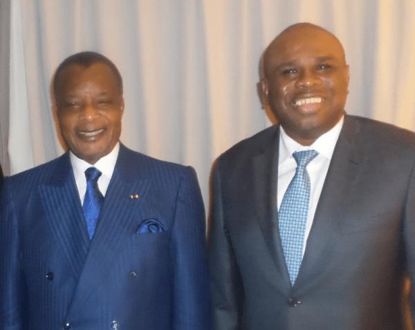 Denis Sassou Nguesso, Président de la République du Congo (à gauche), aux côtés du Dr. Okey Oramah, Président d'Afreximbank