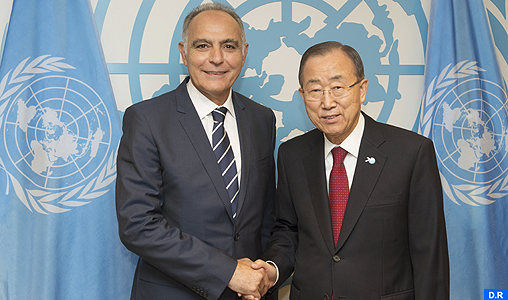 Secretary-General Ban Ki-moon meeting with H.E. Mr. Salaheddine Mezouar, Foreign Minister, Morocco.