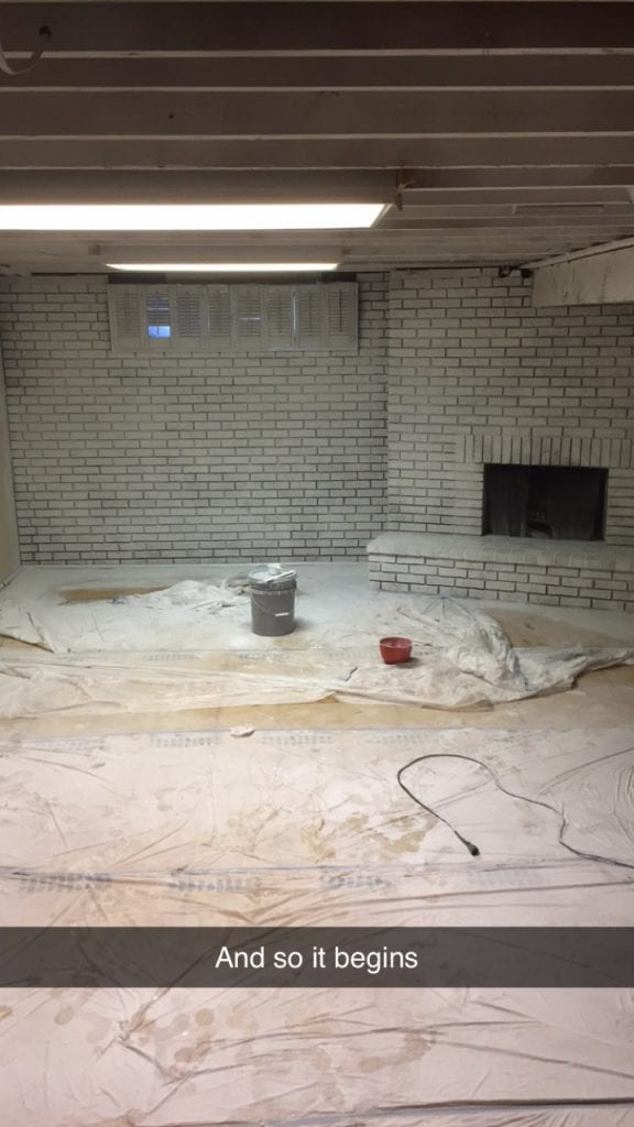 Painting the ceilings and wall during the basement remodel