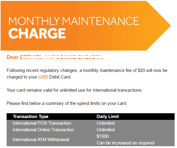 Access bank introduce monthly charge of $20 on dollar debit cards (Screenshot) - Brand Spur