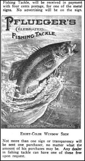 Pflueger Antique Lure Sign Ad