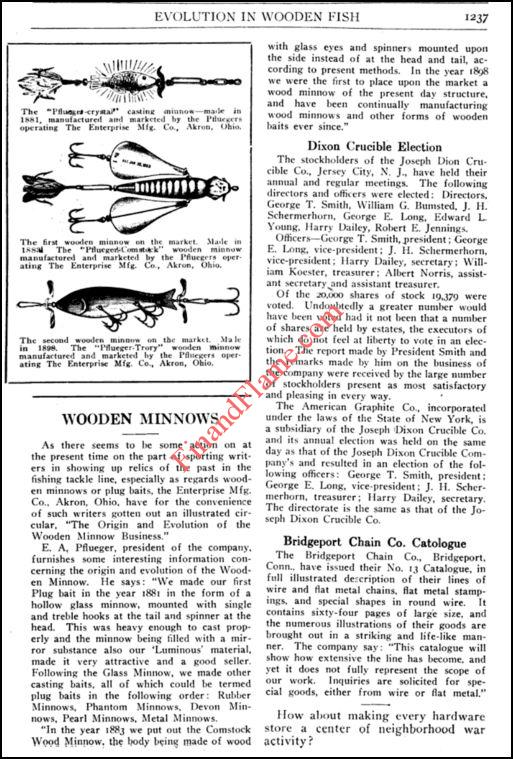 Pflueger Wooden Minnows Article 1918