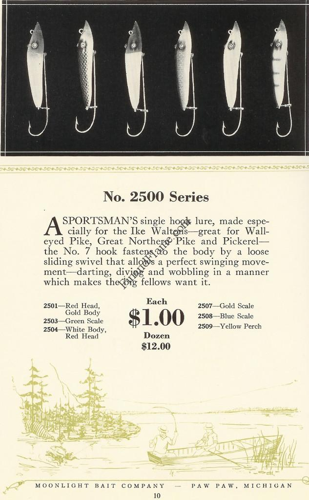 Moonlight Single Hook Pikaroon Antique Lure Catalog Page