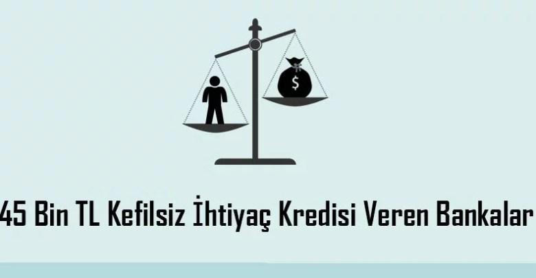 45 Bin TL Kefilsiz İhtiyaç Kredisi Veren Bankalar