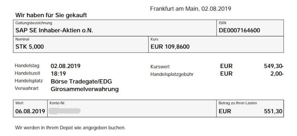 SAP Aktienkauf August 2019