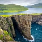 Sørvágsvatn or Leitisvatn infinity lake Faroe Islands.