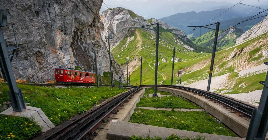 Cogwheel train on Mount Pilatus Switzerland