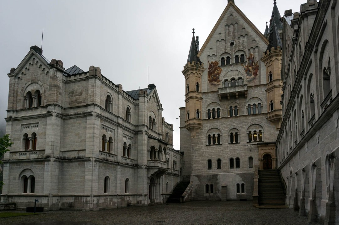 Interior courtyard of Neuschwanstein Castle Germany.