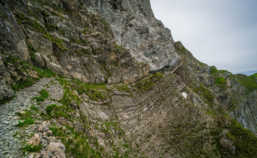 Narrow trail along rock face on Mount Pilatus