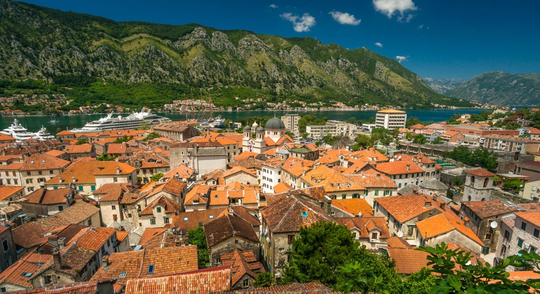 Orange clay rooftops Montenegro Bay of Kotor.