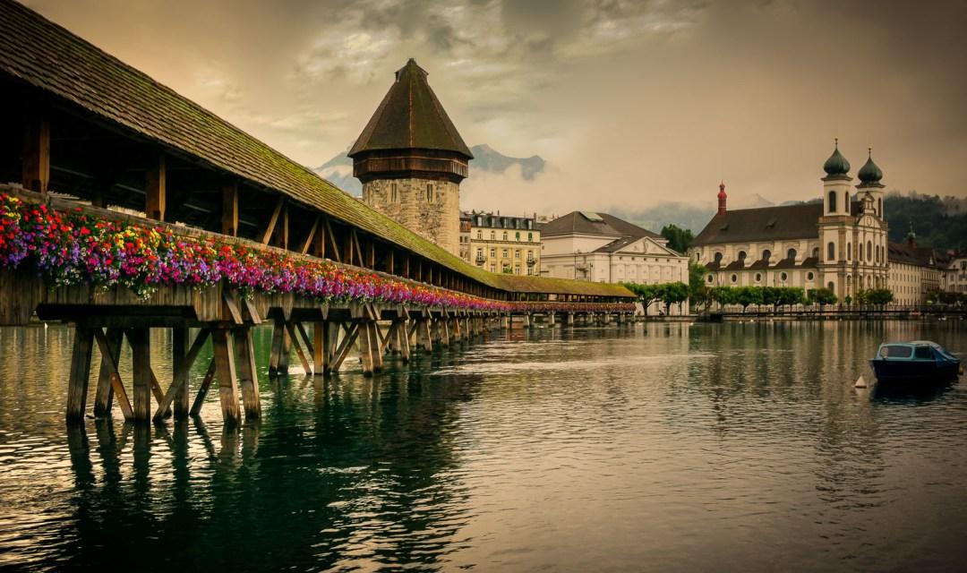 Chapel Bridge Kapellbrücke and Reuss River in Lucerne Switzerland.