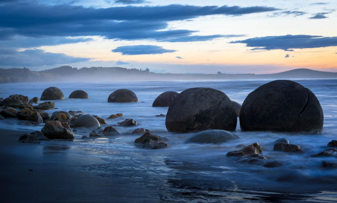 Round concretions on the beach in New Zealand