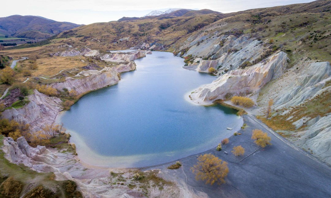 Saint Bathans and blue lake from above