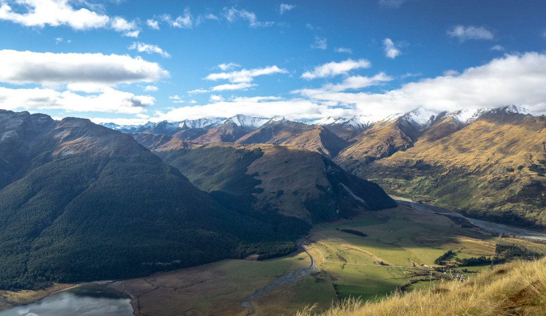 Looking down on New Zealand valley